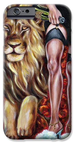 Zodiac Paintings iPhone Cases - 12 signs series Lio iPhone Case by Hiroko Sakai