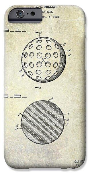 Golf Green iPhone Cases - Golf Ball Patent Drawing iPhone Case by Jon Neidert