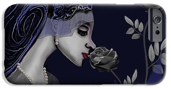 Irmgard iPhone Cases - 126 - A Young Woman With Roses ... iPhone Case by Irmgard Schoendorf Welch