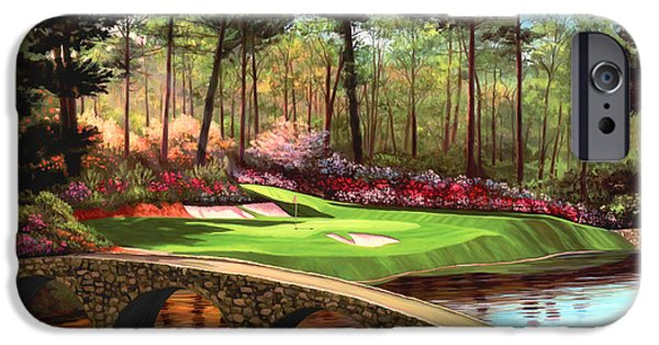Sports Paintings iPhone Cases - 12th hole at Augusta  iPhone Case by Tim Gilliland