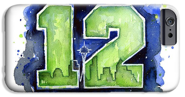 Seattle Seahawks iPhone Cases - 12th Man Seahawks Art Seattle Go HAWKS iPhone Case by Olga Shvartsur