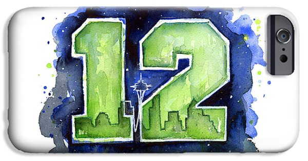 Seattle iPhone Cases - 12th Man Seahawks Art Seattle Go HAWKS iPhone Case by Olga Shvartsur