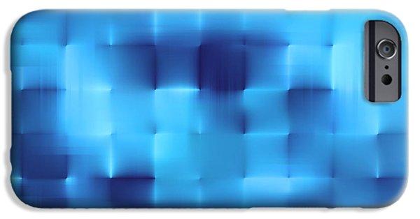 Concept Digital Art iPhone Cases - Blue squares iPhone Case by Dan Radi