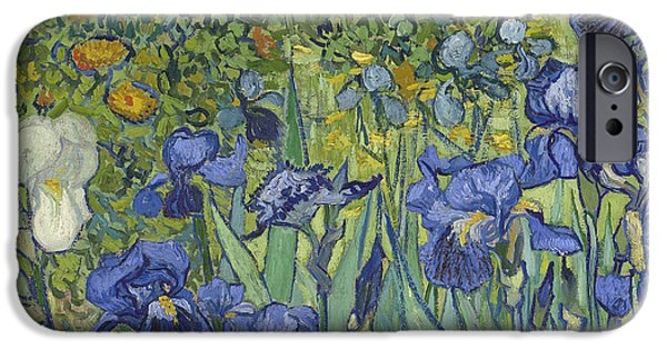 In Bloom Paintings iPhone Cases - Irises iPhone Case by Vincent Van Gogh