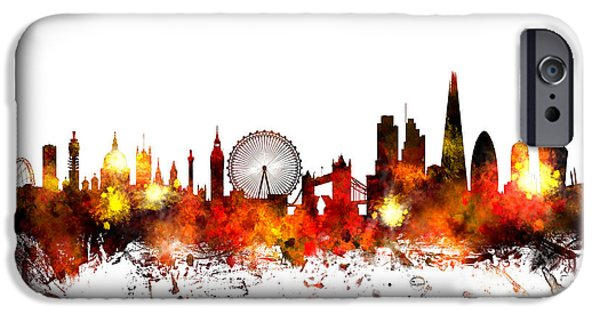 Kingdom iPhone Cases - London England Skyline iPhone Case by Michael Tompsett