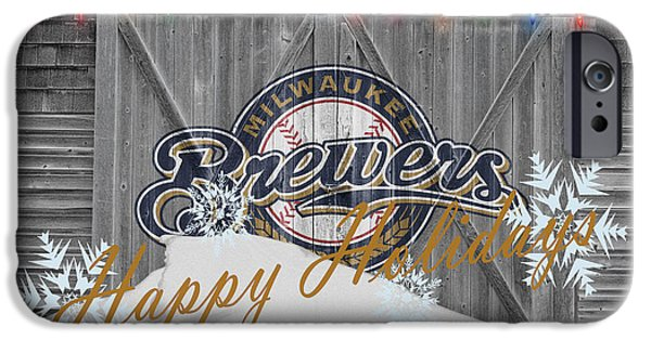 Santa iPhone Cases - Milwaukee Brewers iPhone Case by Joe Hamilton