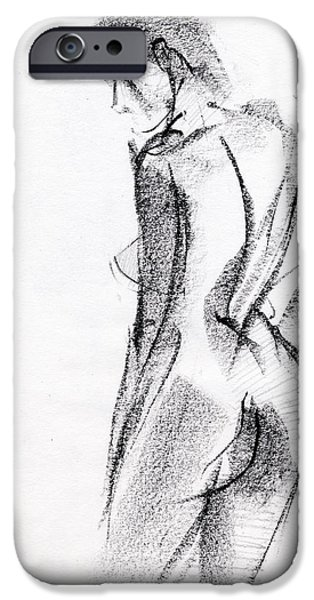 Female Drawings iPhone Cases - RCNpaintings.com iPhone Case by Chris N Rohrbach