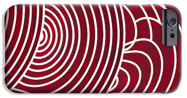 Deep Space Art Paintings iPhone Cases - Red Abstract iPhone Case by Frank Tschakert