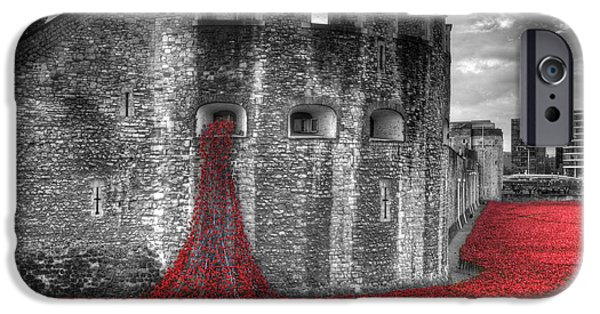 Ww1 iPhone Cases - Tower of London Poppies iPhone Case by Chris Day