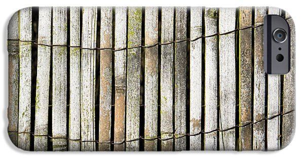 Bamboo Fence iPhone Cases - Wood background iPhone Case by Tom Gowanlock