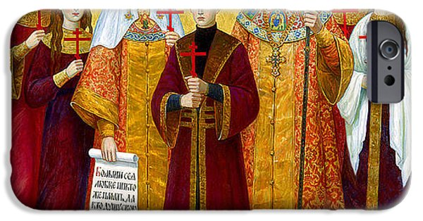 Duchess Paintings iPhone Cases - 131. Icon of Romanov family Print iPhone Case by Royal Portraits