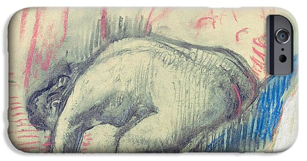 Feminine Pastels iPhone Cases - After the Bath iPhone Case by Edgar Degas