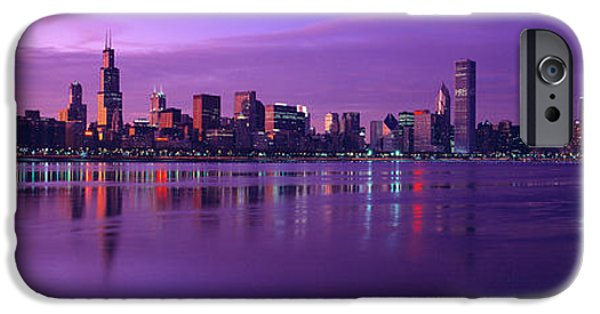 Sears Tower iPhone Cases - Buildings At The Waterfront Lit iPhone Case by Panoramic Images