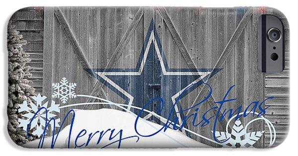 Christmas Greeting iPhone Cases - Dallas Cowboys iPhone Case by Joe Hamilton