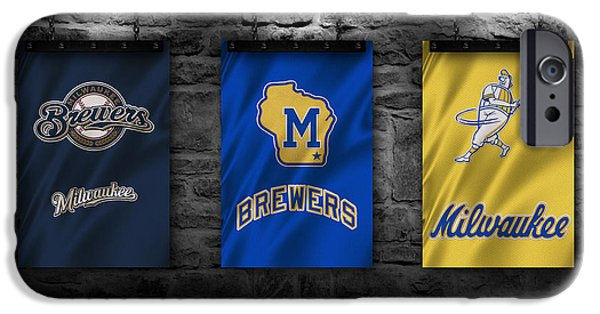 Baseball Uniform iPhone Cases - Milwaukee Brewers iPhone Case by Joe Hamilton