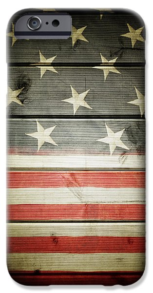 Stripe.paint iPhone Cases - American flag iPhone Case by Les Cunliffe