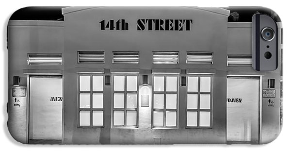 Ianmonk iPhone Cases - 14th Street Art Deco Toilet Block SOBE Miami - Black and White iPhone Case by Ian Monk