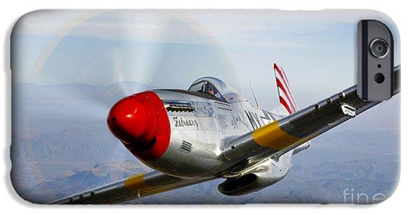 Prescott iPhone Cases - A P-51d Mustang In Flight iPhone Case by Scott Germain