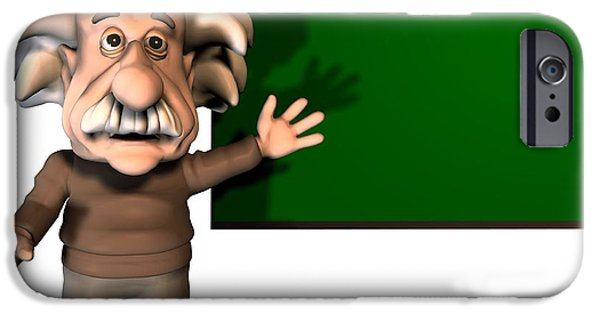 Cut-outs iPhone Cases - Albert Einstein, Artwork iPhone Case by Friedrich Saurer