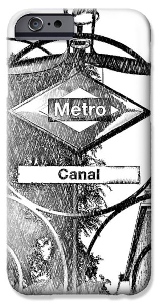 Canal Street Line iPhone Cases - 15 Canal Metro Madrid iPhone Case by Alan Armstrong
