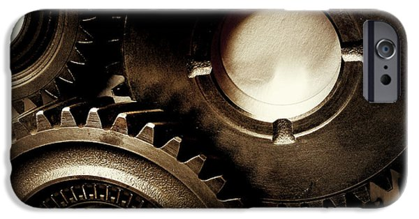 Metaphor iPhone Cases - Cogs iPhone Case by Les Cunliffe