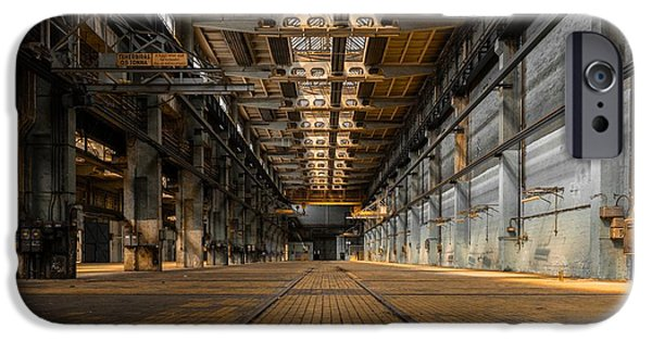 Industry Pyrography iPhone Cases - Industrial interior of an old factory iPhone Case by Oliver Sved