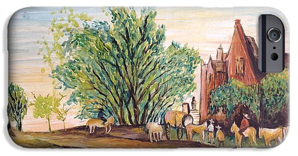 Horse And Cart Paintings iPhone Cases - Landscape  iPhone Case by Egidio Graziani