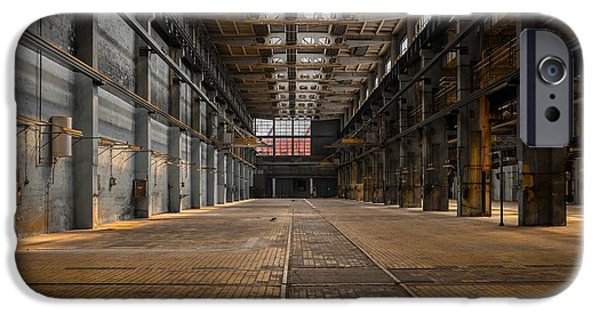 Industry Pyrography iPhone Cases - Large industrial hall of a repair station iPhone Case by Oliver Sved