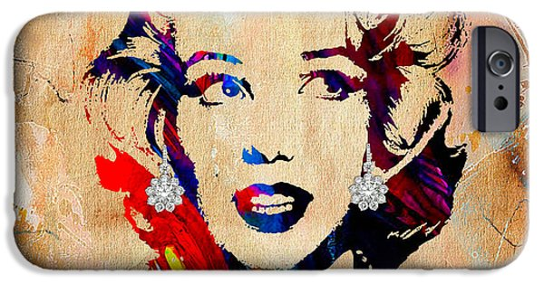 Marilyn iPhone Cases - Marilyn Monroe Diamond Earring Collection iPhone Case by Marvin Blaine