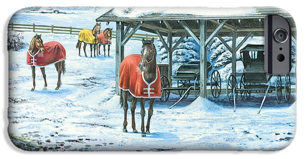 Horse Stable iPhone Cases - Brisk Winter Days iPhone Case by John Bindon