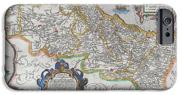 Not In Service iPhone Cases - 1579 Ortelius Map of Portugal  iPhone Case by Paul Fearn