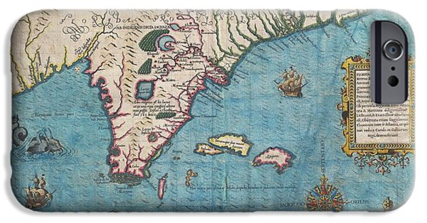 Charles River iPhone Cases - 1591 De Bry and Le Moyne Map of Florida and Cuba iPhone Case by Paul Fearn