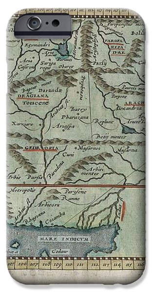 1597 Ptolemy  Magini  Keschedt Map of Pakistan Iran and Afghanistan iPhone Case by Paul Fearn