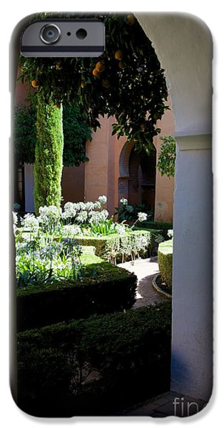 Mosaic Pyrography iPhone Cases - Alhambra in Granada iPhone Case by Marie Viant