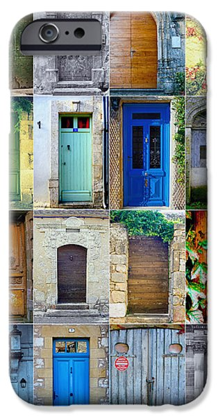 French Doors iPhone Cases - 16 Doors in France Collage iPhone Case by Nomad Art And  Design