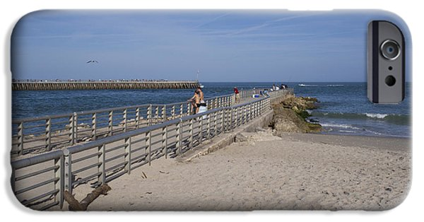 States iPhone Cases - Fishing at Sebastian Inlet in Florida iPhone Case by Allan  Hughes