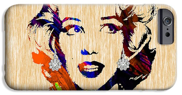 Gold iPhone Cases - Marilyn Monroe Diamond Earring Collection iPhone Case by Marvin Blaine