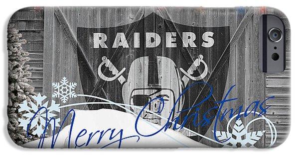 Christmas Greeting iPhone Cases - Oakland Raiders iPhone Case by Joe Hamilton