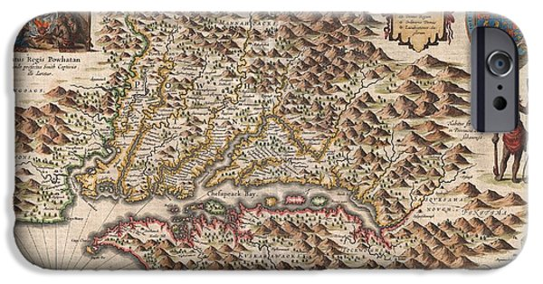 Against The War iPhone Cases - 1630 Hondius Map of Virginia and the Chesapeake iPhone Case by Paul Fearn