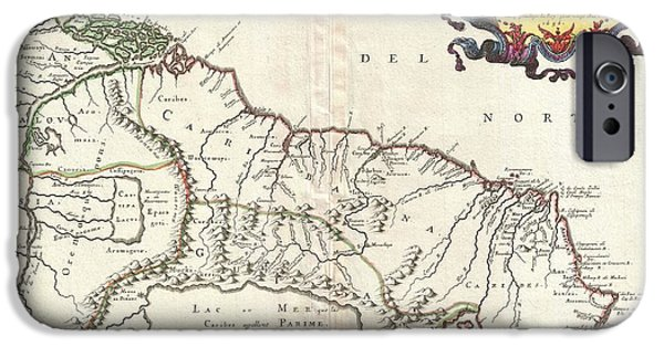 To Dominate iPhone Cases - 1656 Sanson Map of Guiana Venezuela and El Dorado iPhone Case by Paul Fearn