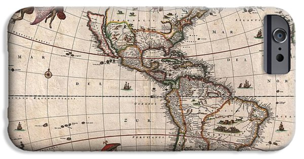 Live And Learn iPhone Cases - 1658 Visscher Map of North America and South America iPhone Case by Paul Fearn