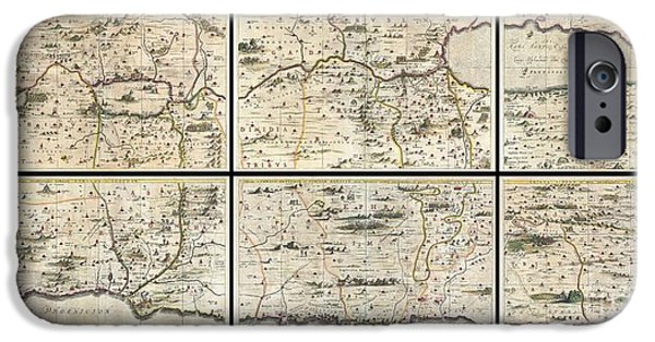 Jesus Walking On Water iPhone Cases - 1662 Jansson and Hornius Map of the Holy Land Israel and Palestine iPhone Case by Paul Fearn