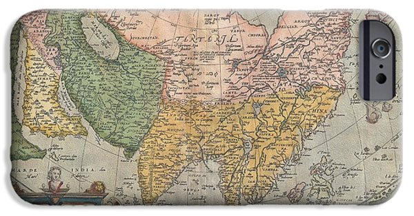 Ply iPhone Cases - 1670 Ortelius Map of Asia  iPhone Case by Paul Fearn