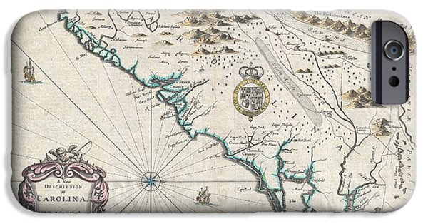 Recently Sold -  - Charles River iPhone Cases - 1676 John Speed Map of Carolina iPhone Case by Paul Fearn