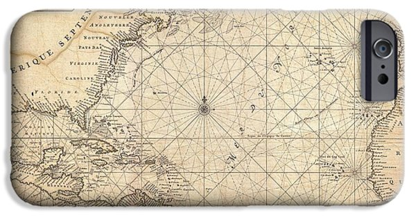 Cape Lookout iPhone Cases - 1683 Mortier Map of North America the West Indies and the Atlantic Ocean  iPhone Case by Paul Fearn