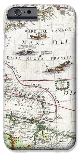 Ply iPhone Cases - 1688 Coronelli Globe Gore Map of NE North America the West Indies and NE South America iPhone Case by Paul Fearn