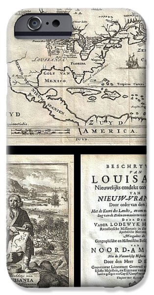 First Term iPhone Cases - 1688 Hennepin First Book and Map of North America iPhone Case by Paul Fearn