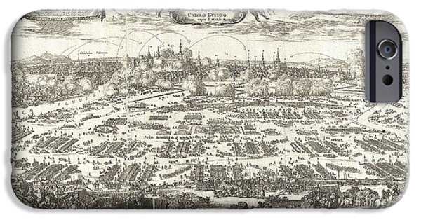 Rare Moments iPhone Cases - 1697 Pufendorf View of Krakow Cracow Poland iPhone Case by Paul Fearn