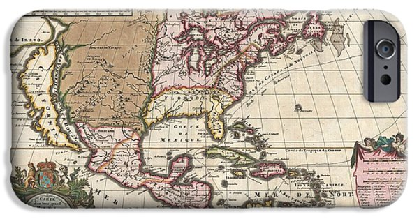 Self Discovery Photographs iPhone Cases - 1698 Louis Hennepin Map of North America iPhone Case by Paul Fearn