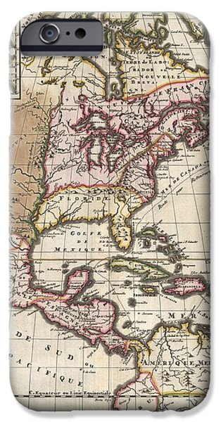 1698 Louis Hennepin Map of North America iPhone Case by Paul Fearn
